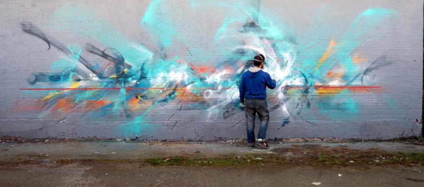Live street art by Eyes-B